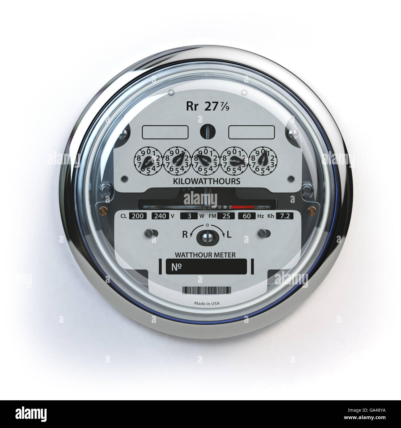 Analog electric meter isolated on white.  Electricity consumption concept. 3d illustration - Stock Image