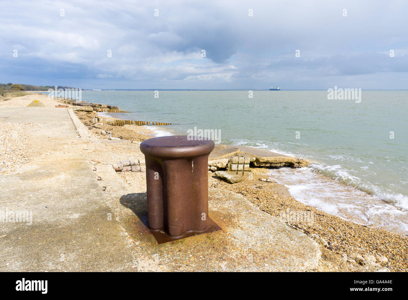 The remains of a D-Day embarkation beach at Lepe, Hampshire. - Stock Image