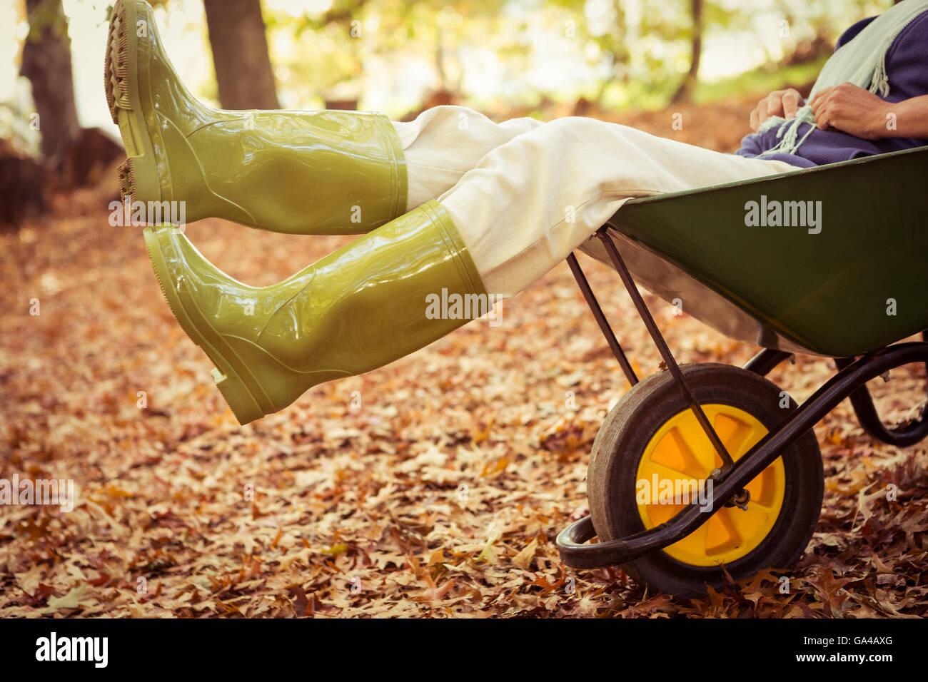 Low section of gardener sitting in wheelbarrow at garden Stock Photo