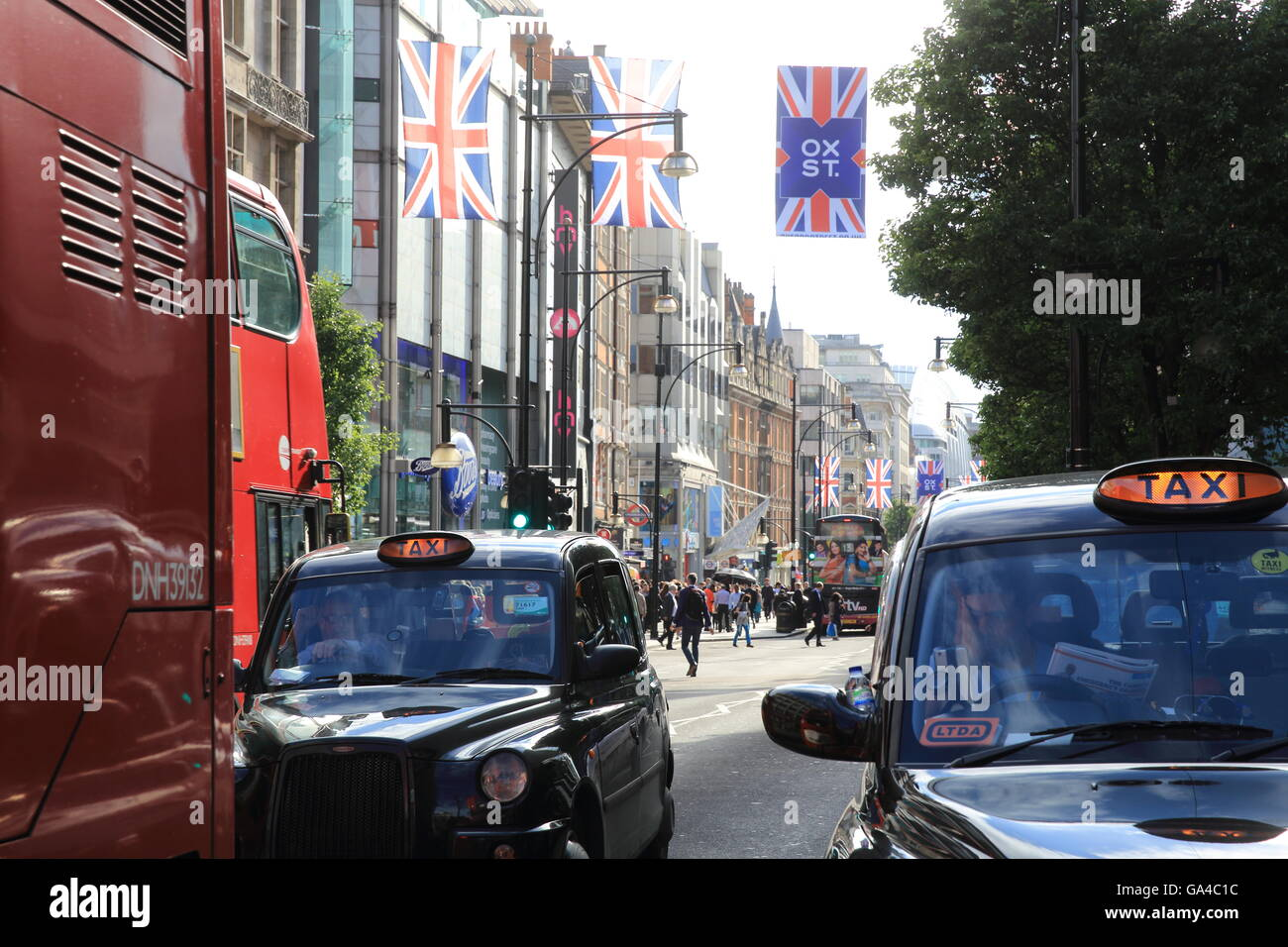 Oxford Street in London's West End, to be pedestrianized by 2020, as decided by Mayor Sadiq Khan, in England, - Stock Image