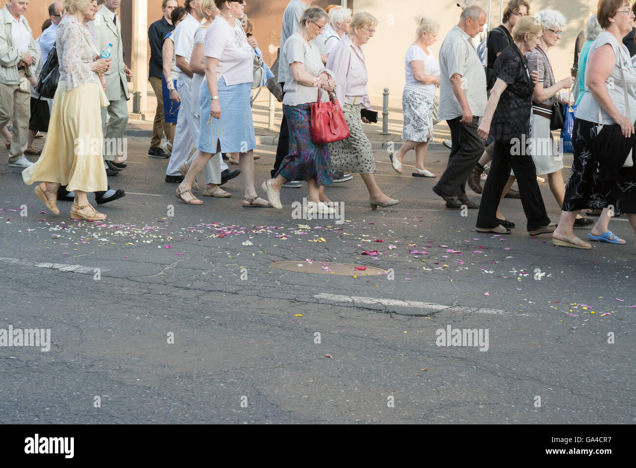 Corpus Christi procession in the street of Gdynia, Poland, Europe - Stock Image