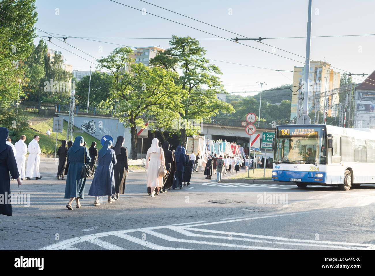 Corpus Christi procession in the street of Gdynia, Poland, Europe Stock Photo