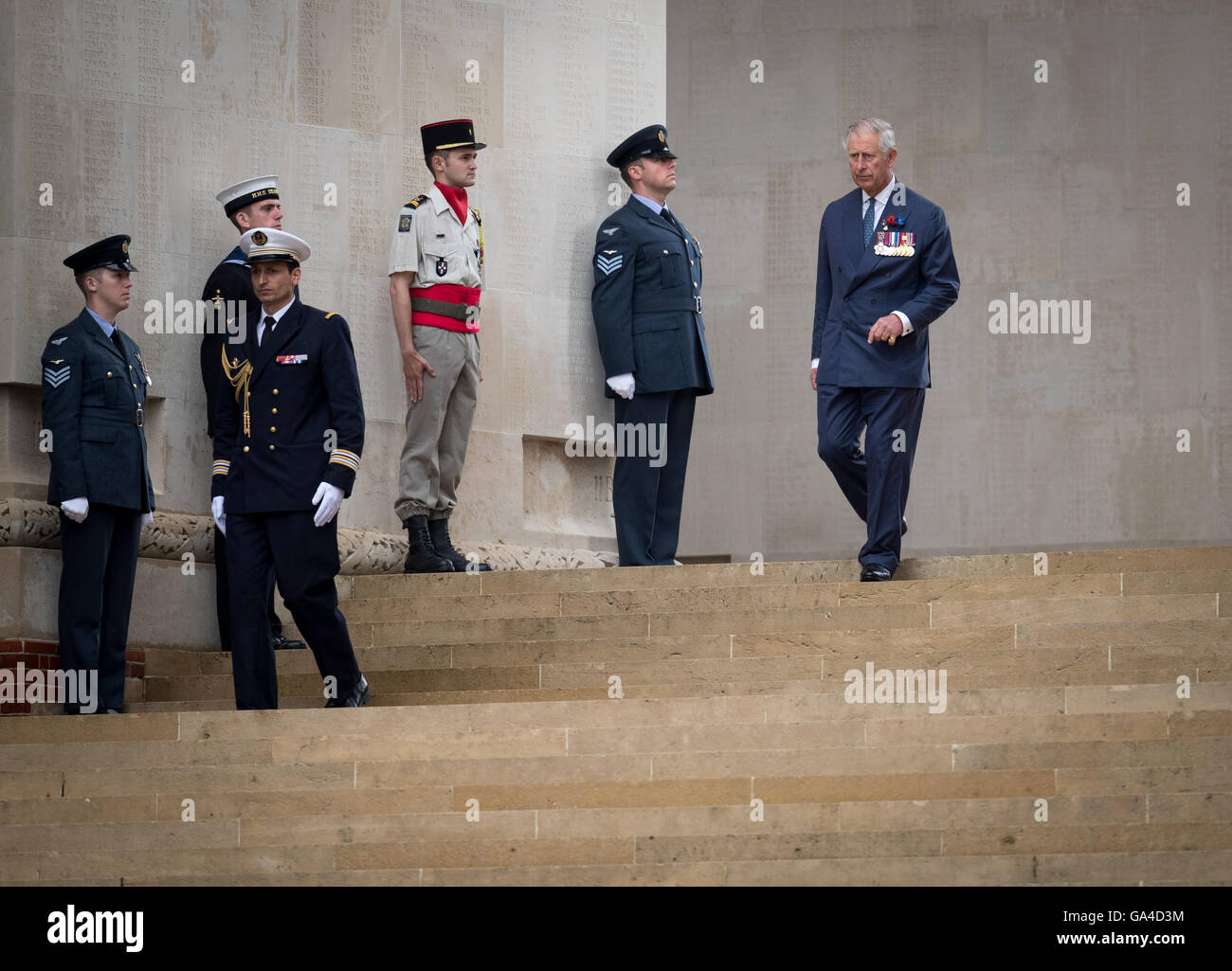 Britain's Prince Charles attends the 100th centenary anniversary of the start on the Battle of the Some in Theipval, Stock Photo