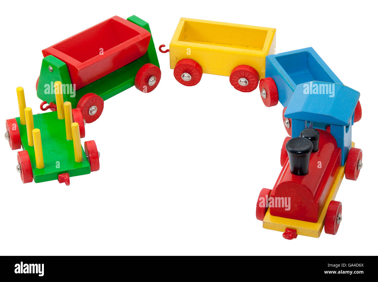 Colorful wooden model railway with steam locomotive and goods waggons - Stock Image