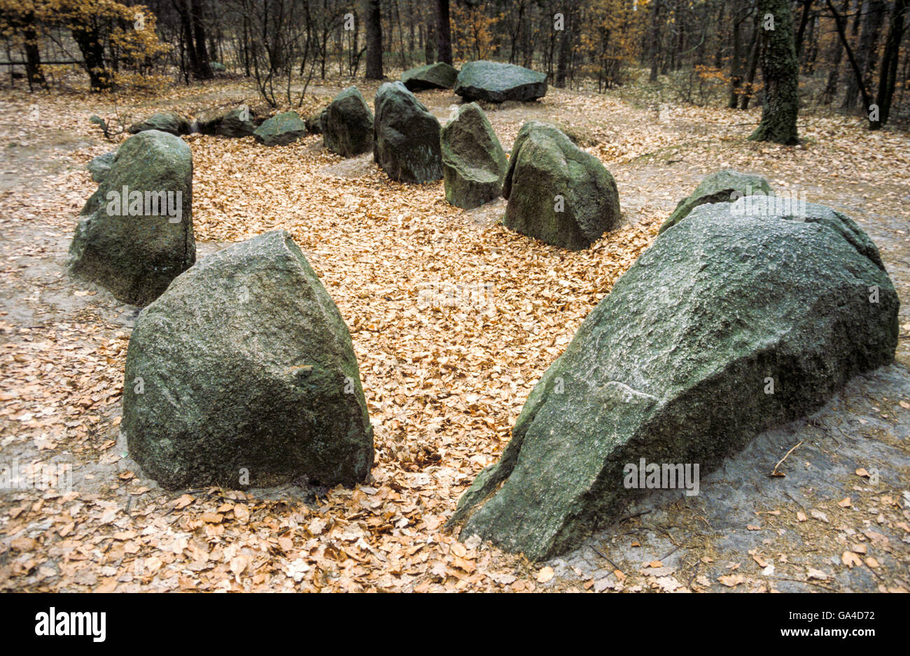 Passage grave Devil's Bed, built in the Neolithic Age Stock Photo