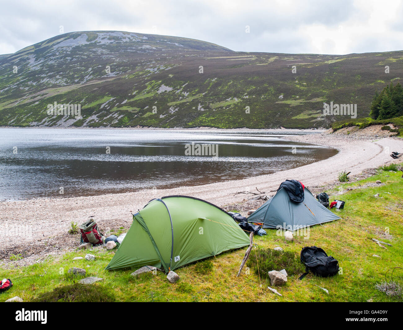 Two tents on a Loch shore in the Cairngorm mountains in Scotland - Stock Image