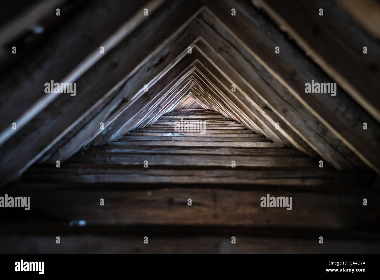 Wooden triangle roof - Stock Image