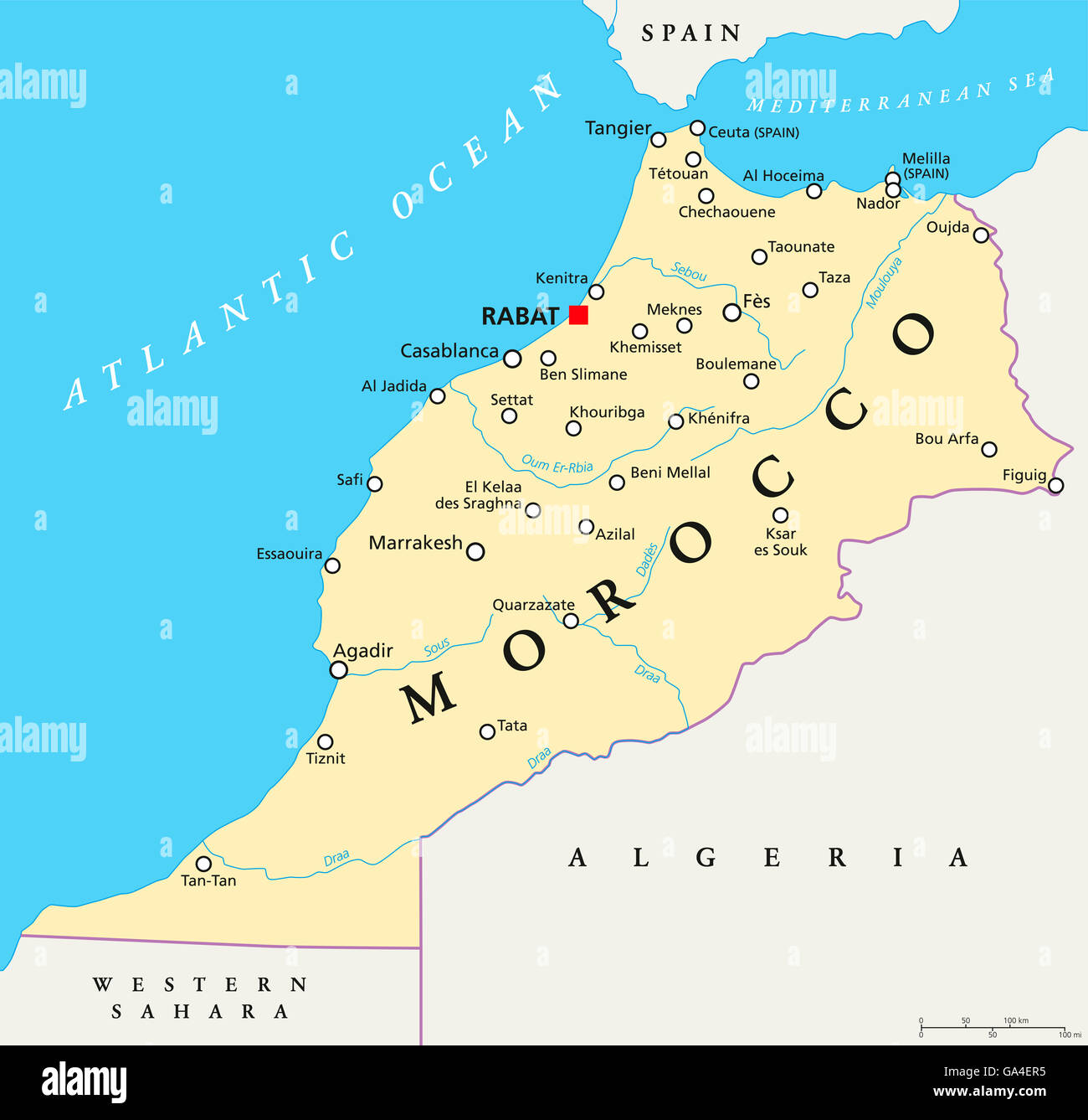 Morocco political map with capital Rabat, national borders ...
