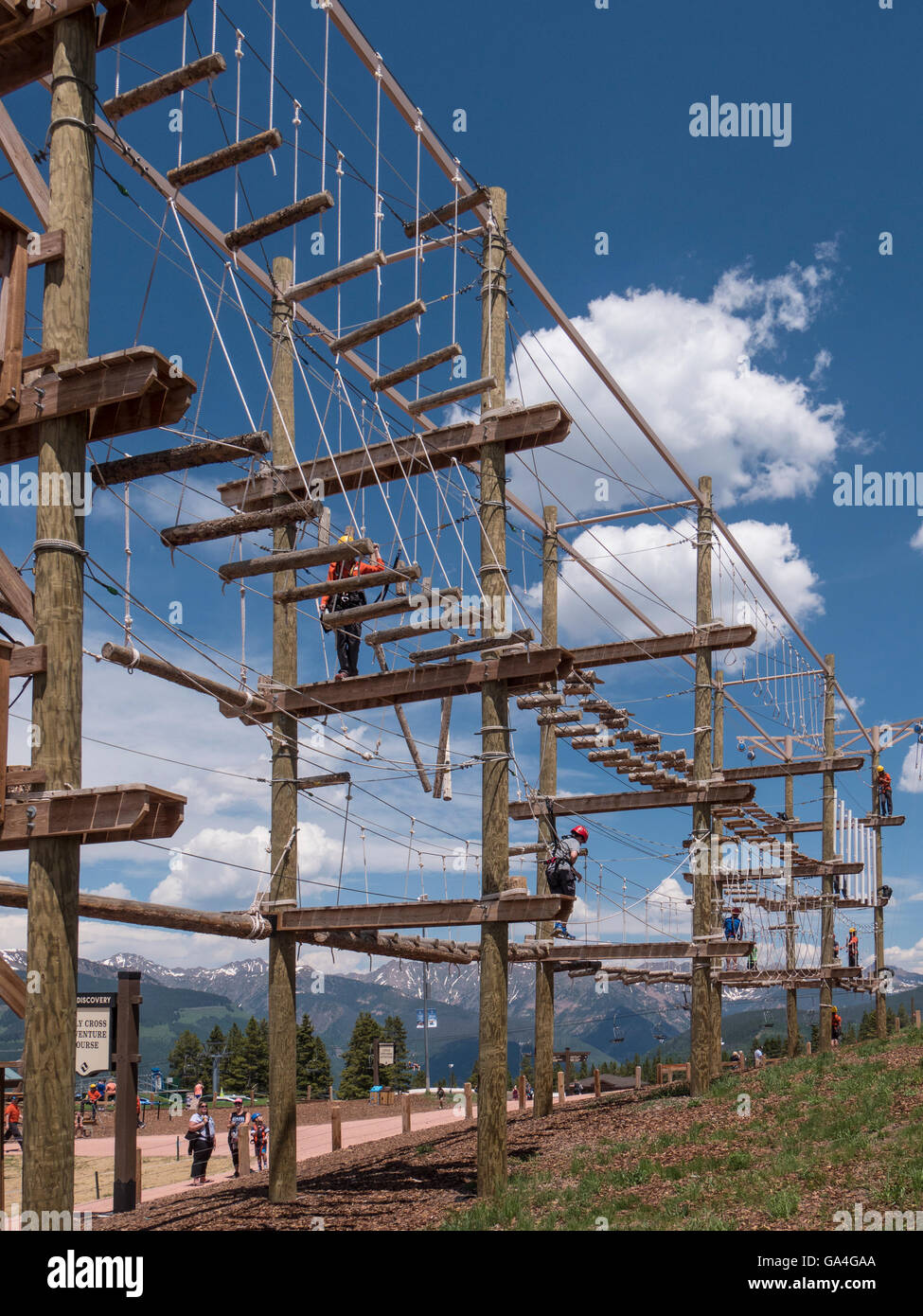 Holy Cross Adventure Course, Epic Discovery center at Eagle's Nest, Vail Ski Resort, Vail, Colorado. - Stock Image