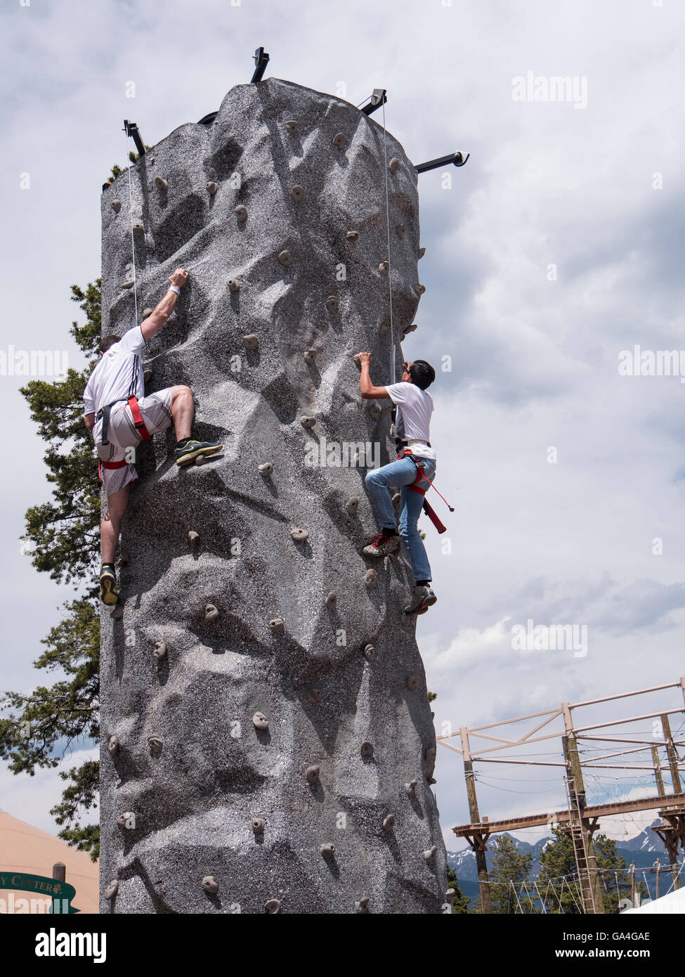 Mountain Goat Climbing Tower, Epic Discovery center at Eagle's Nest, Vail Ski Resort, Vail, Colorado. - Stock Image