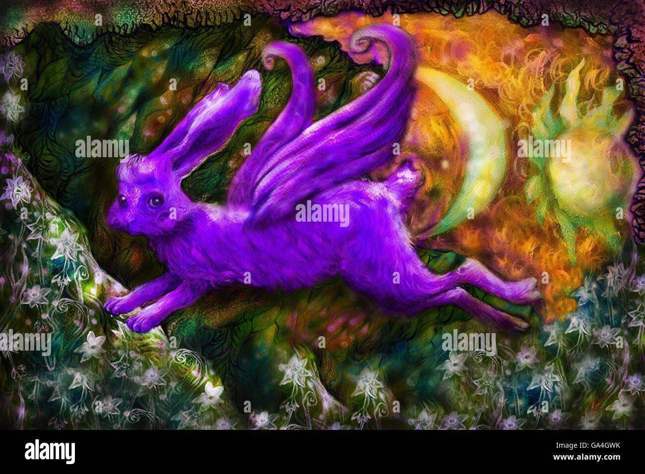 violett flying dreamy rabbit in fairy-tale land, illustration - Stock Image