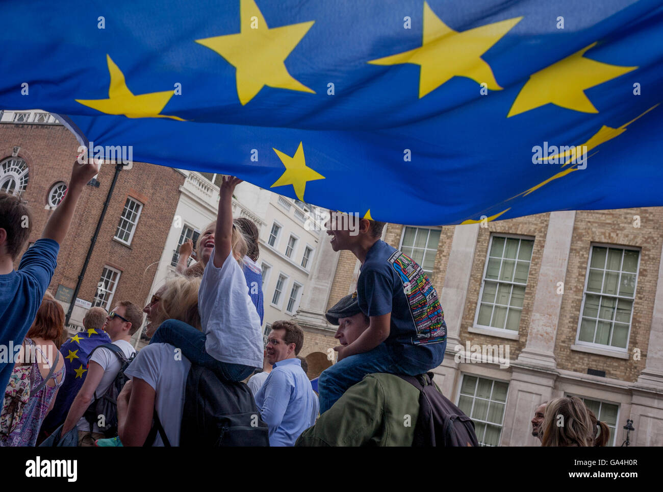 Thousands of British voters march through London to protest against the referendum decision to leave the EU (Brexit) Stock Photo