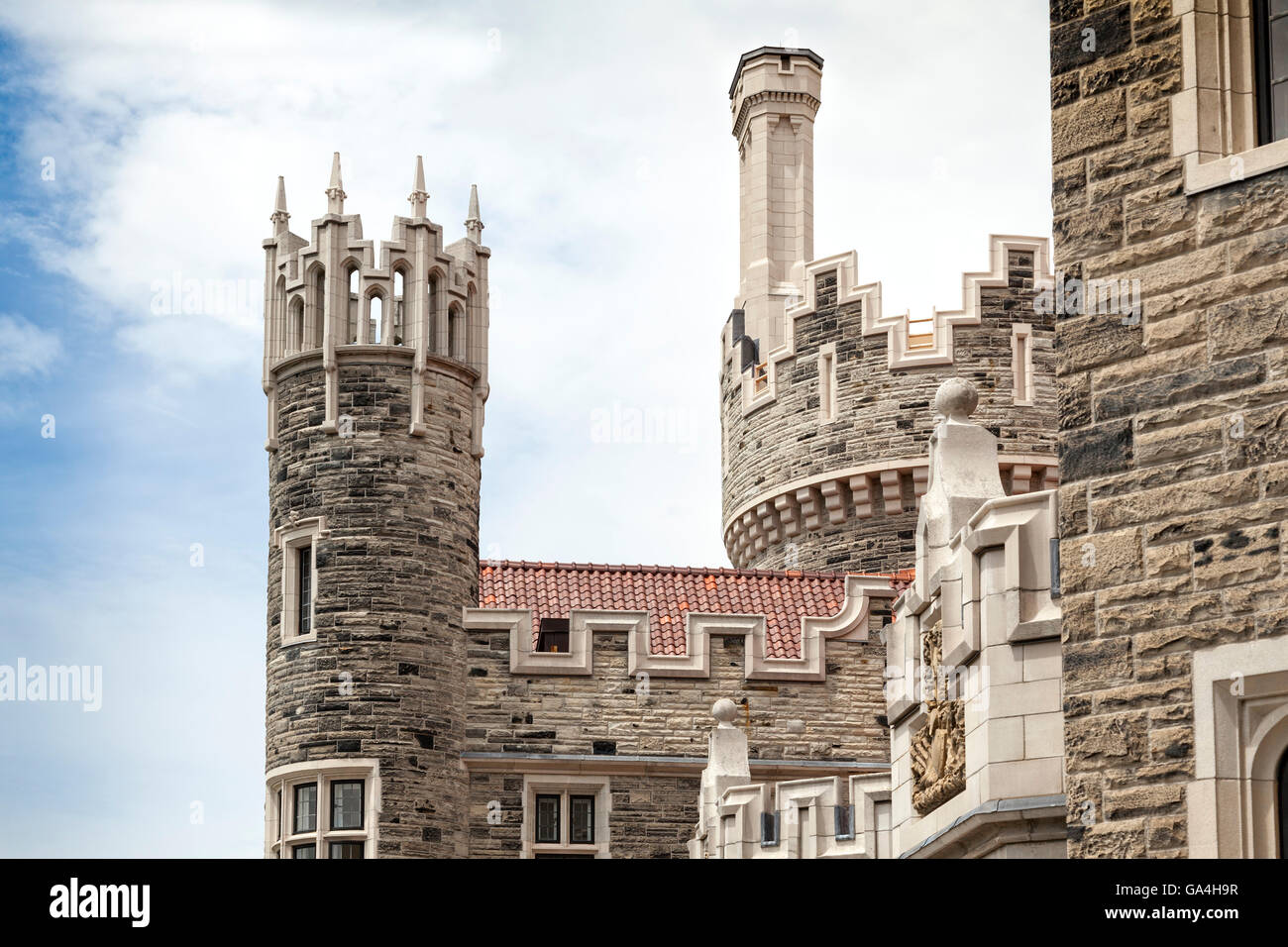 The turret of the Casa Loma building in Toronto in Canada. It has a fairytale appearance and is a popular tourist - Stock Image