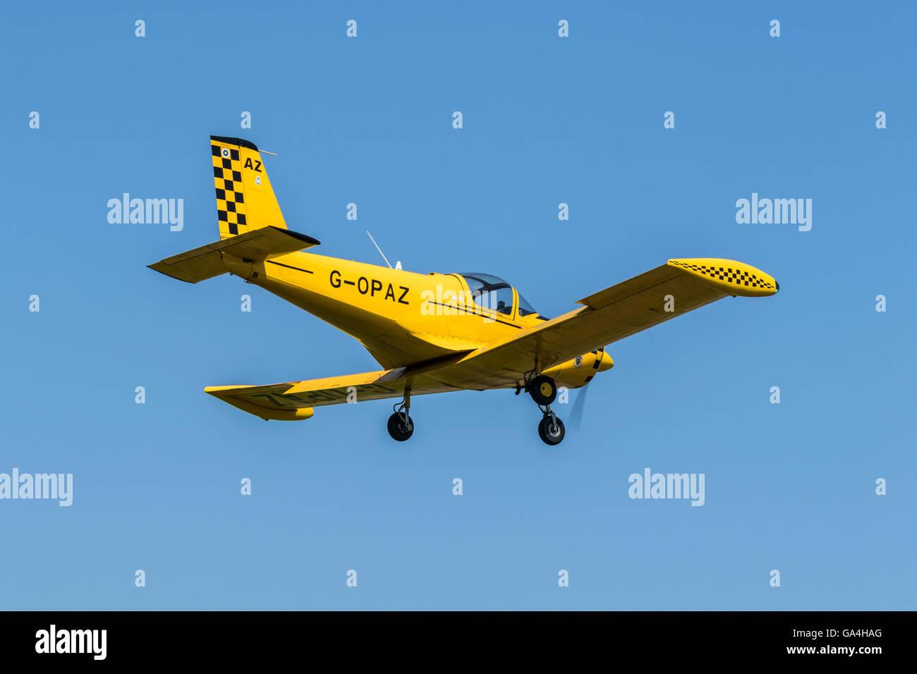 Pazmany PL-2 G-OPAZ landing at Sturgate Airfield - Stock Image