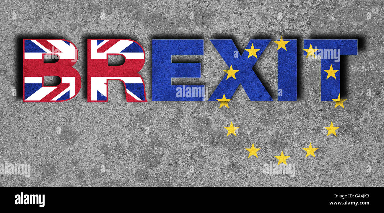 Brexit, Proposed referendum on United Kingdom membership in the European Union, exit concretely written on concrete, - Stock Image