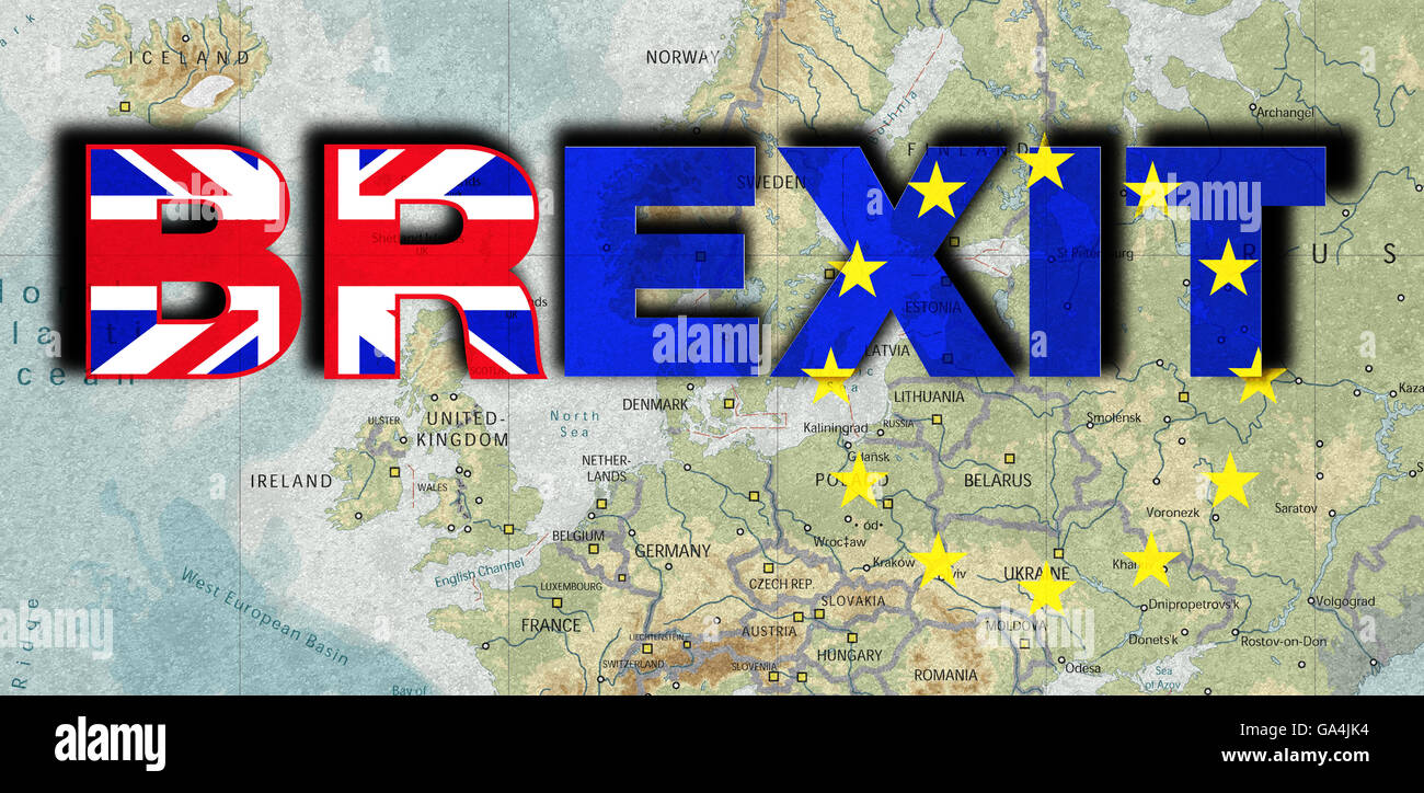 Brexit, Proposed referendum on United Kingdom membership in the European Union, map Europe, withdrawal from the - Stock Image