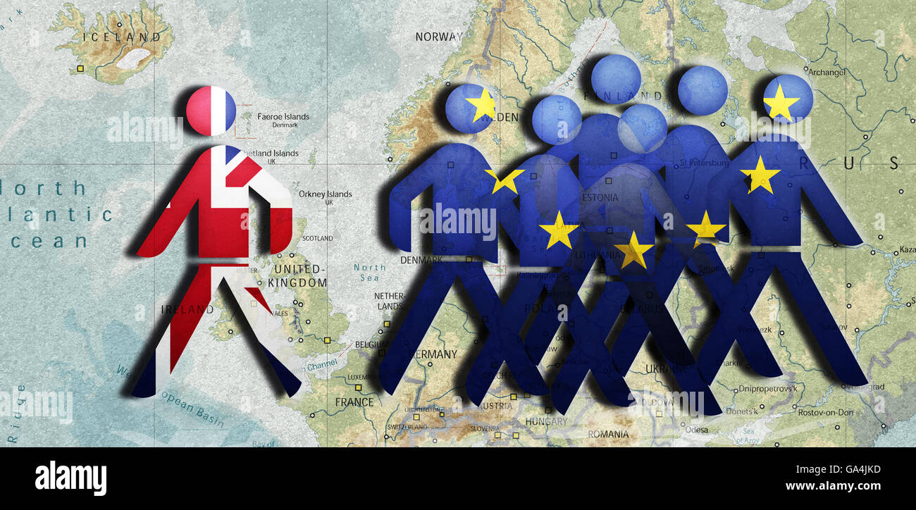 Splendid Isolation, UK goes its own way, United Kingdom UK leaving the EU - Stock Image