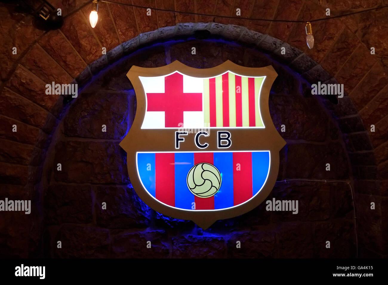 Crest of Futbol Club Barcelona football club hanging in a pub in West Jerusalem Israel - Stock Image