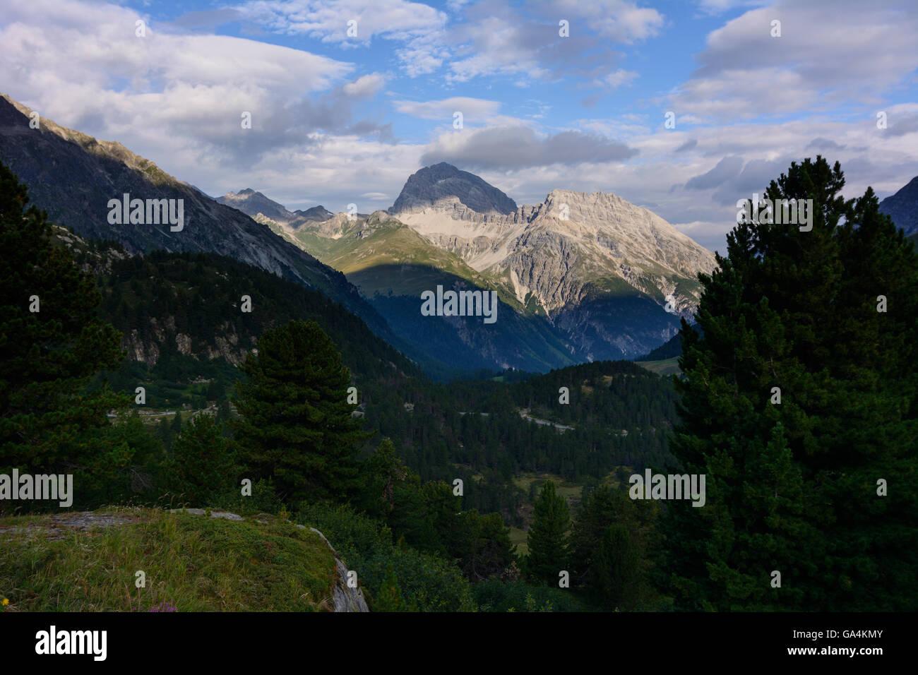 Preda View from Albula pass into Albula valley Switzerland Graubünden, Grisons Albula - Stock Image