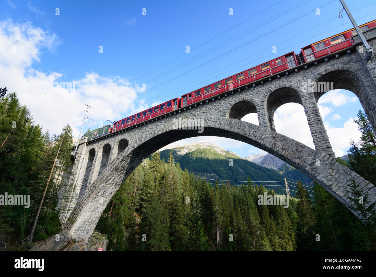 S-chanf Bridge over the Inn the railway Bever - Scuol - Tarasp ( also Engadine Railway , Engadin line , Lower Engadine - Stock Image