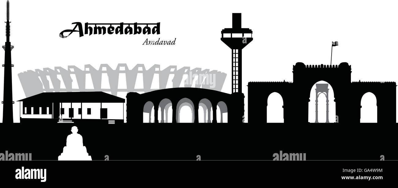 Vector illustration of the skyline of Ahmedabad, India - Stock Vector