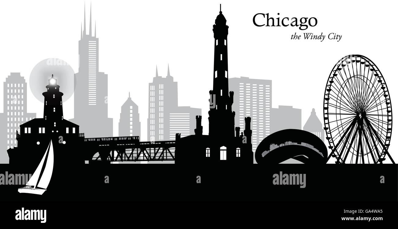 Vector Illustration Of The Skyline Of Chicago Illinois Usa Stock Vector Image Art Alamy
