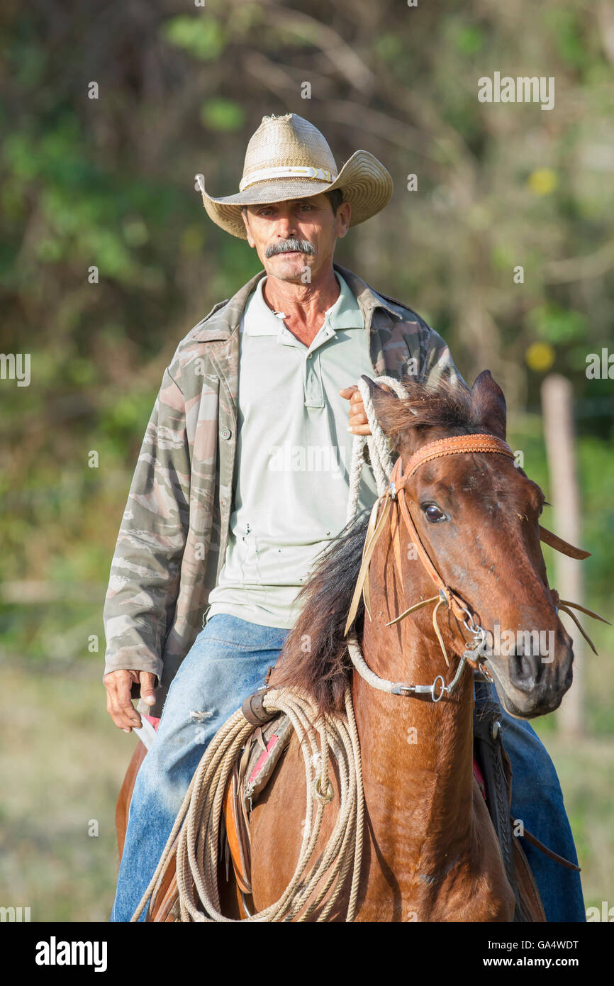 Cowboy on horseback on trail near Hacienda La Belen, a working ranch and popular birding area in Cuba - Stock Image