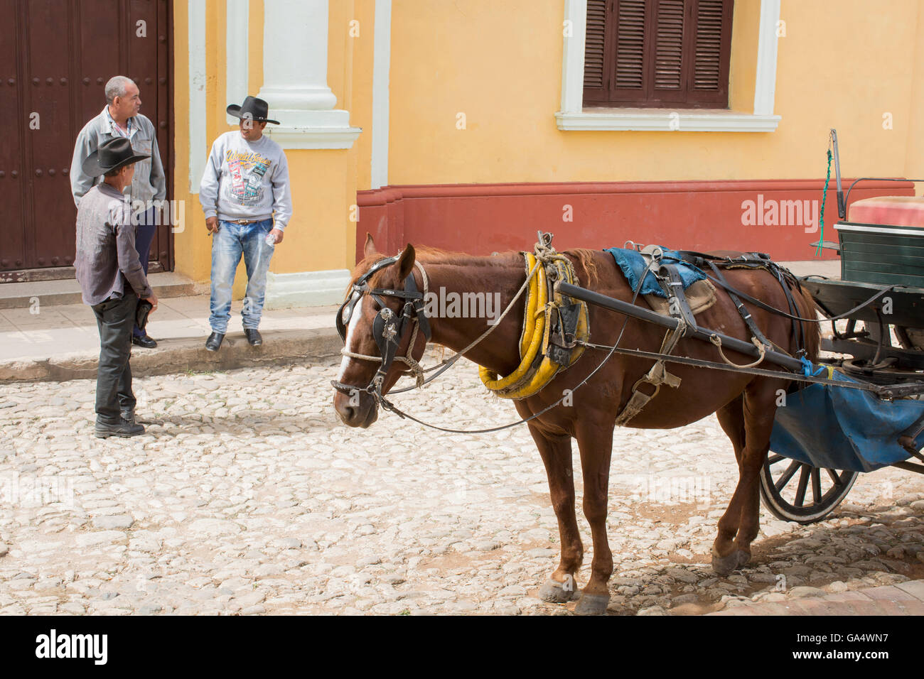 Horse-drawn cart, and three men talking outside the Museum National de la Lucha Contra Bandidos, Trinidad, Cuba - Stock Image