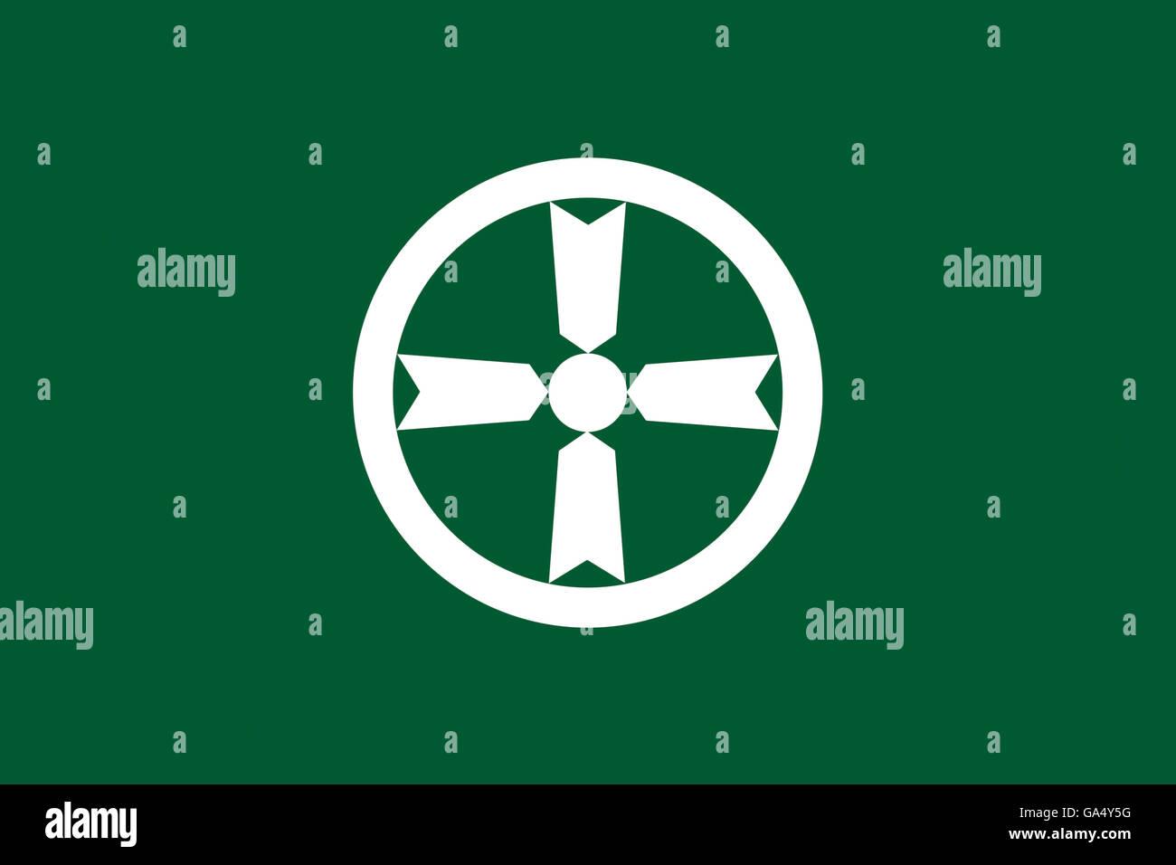 Japan Akita prefecture Akita city flag illustration - Stock Image