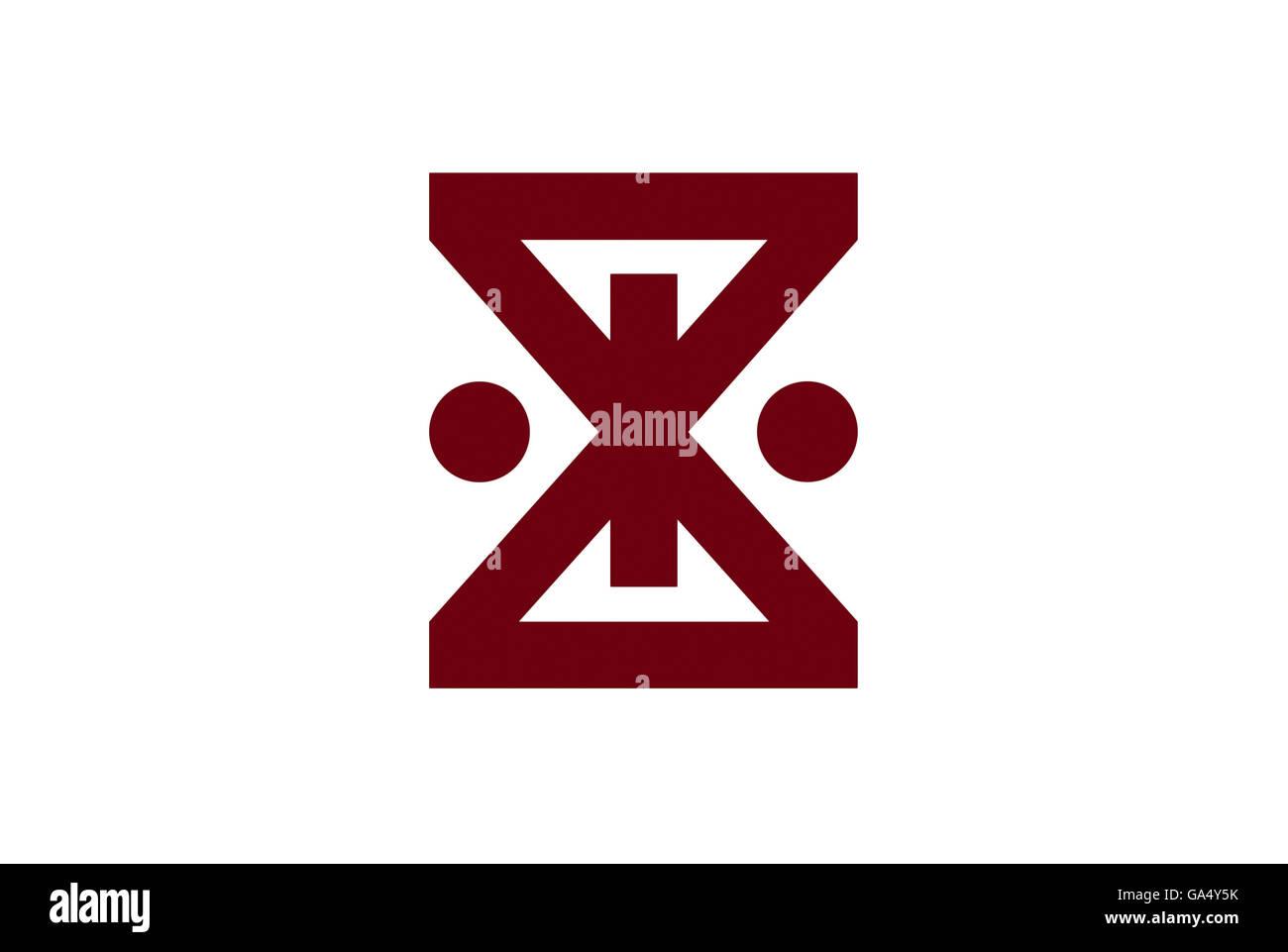 Japan Hyogo prefecture Amagasaki city flag illustration - Stock Image