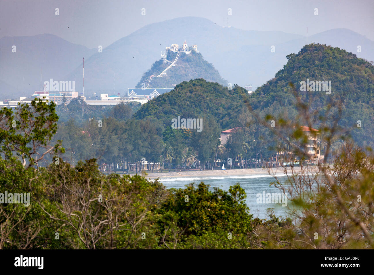A view of part of the Ao Manao beach with the hilltop Wat Thammikaram, in the background (Prachuap Khiri Khan - - Stock Image