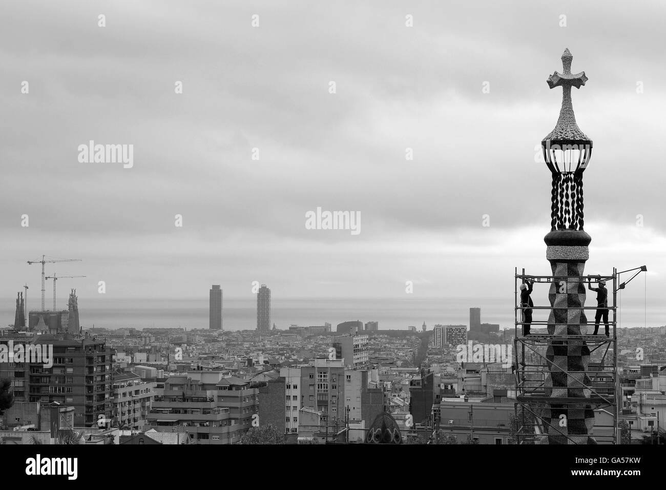 Parc Guell, Carmelo Hill, Barcelona scaffolding, maintenance - Stock Image