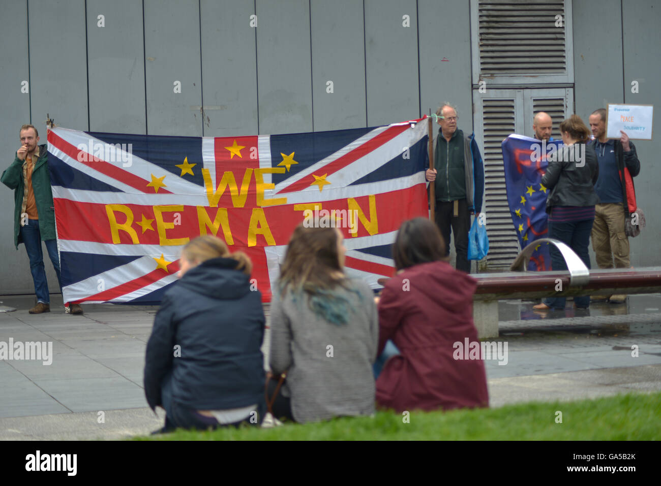 Manchester, UK. 02nd July, 2016. People attending the 'Undo Brexit' demonstration, to have the United Kingdom's Stock Photo