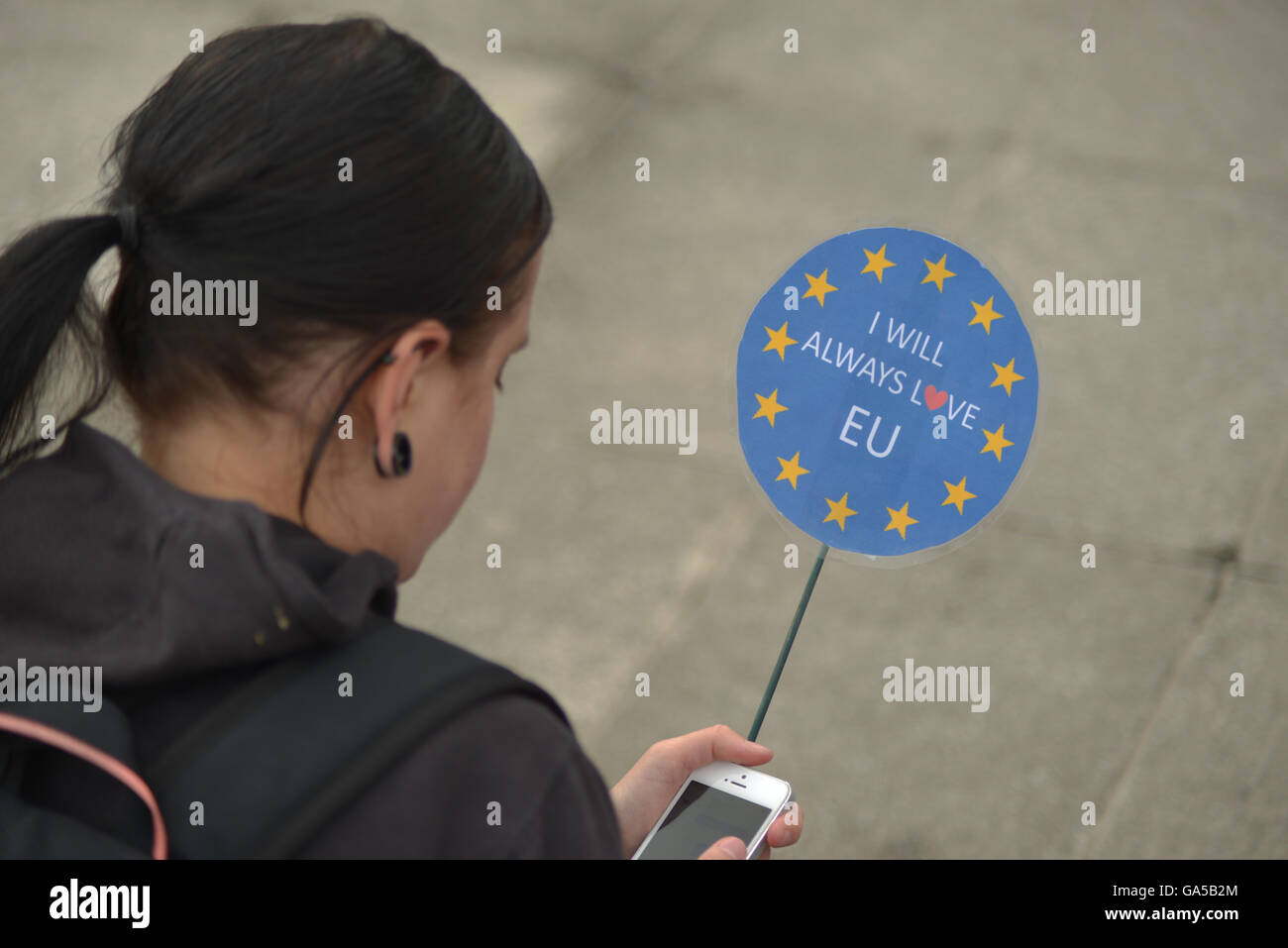Manchester, UK. 02nd July, 2016. A person attending the 'Undo Brexit' demonstration, to have the United Kingdom's Stock Photo