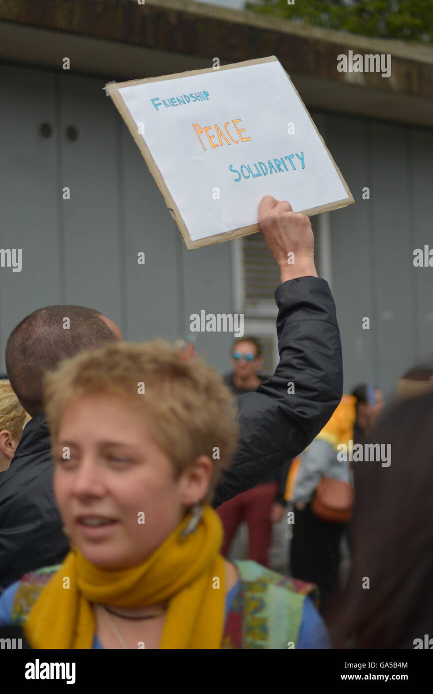 Manchester, UK. 02nd July, 2016. A person holding on to a placard at the 'Undo Brexit' demonstration, to have the Stock Photo