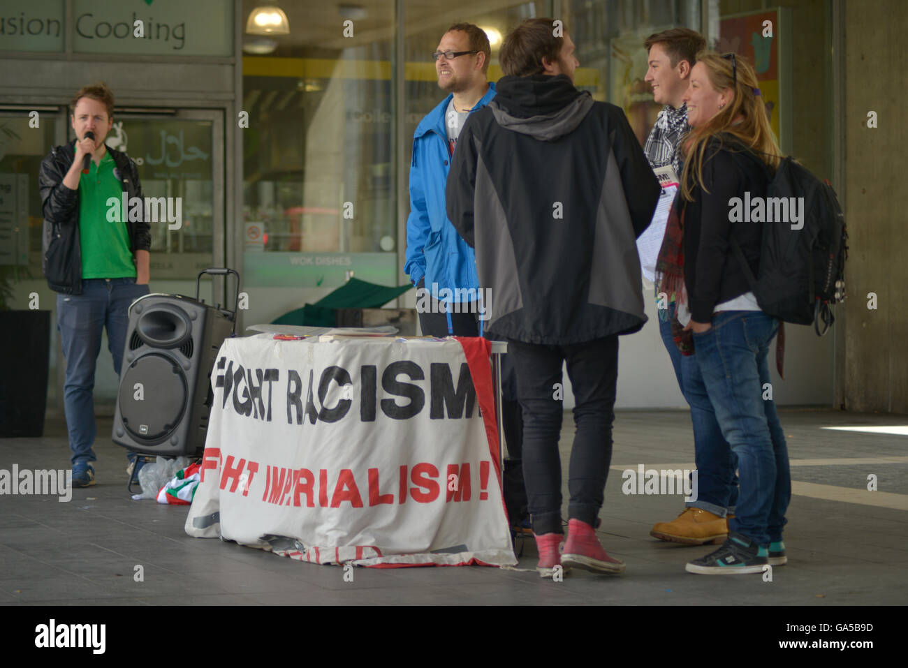 Manchester, UK. 02nd July, 2016. Members of the Fight Racism-Fight Imperialism political party participating in - Stock Image