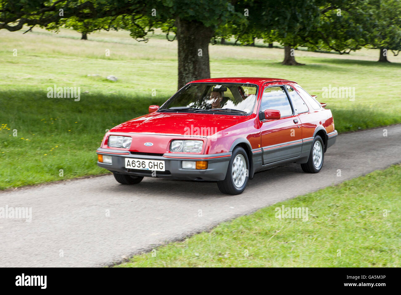 1983 Ford Sierra XR 41i at  Leighton Hall Classic Car Rally, Carnforth, Lancashire, UK.  3rd July, 2016.  The annual - Stock Image