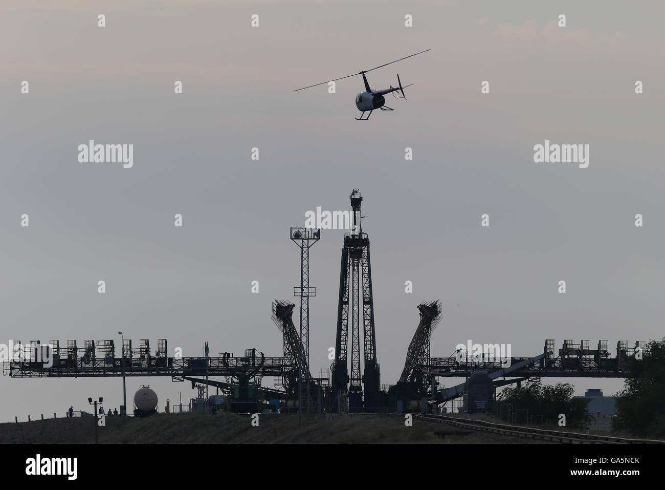 Kazakhstan. 4th July, 2016. A helicopter flying over a launch pad at the Baikonur Cosmodrome. Credit:  ITAR-TASS - Stock Image