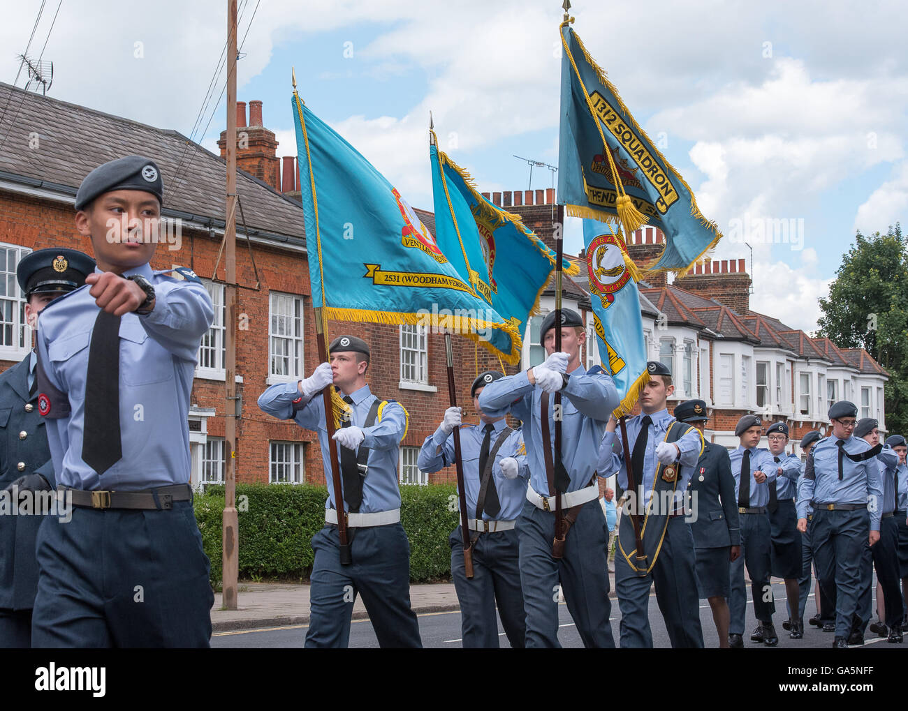Brentwood Essex, 3rd July 2016,Standards of the Essex Wing of the ATC in the 75th Anniversary parade. Credit:  Ian - Stock Image