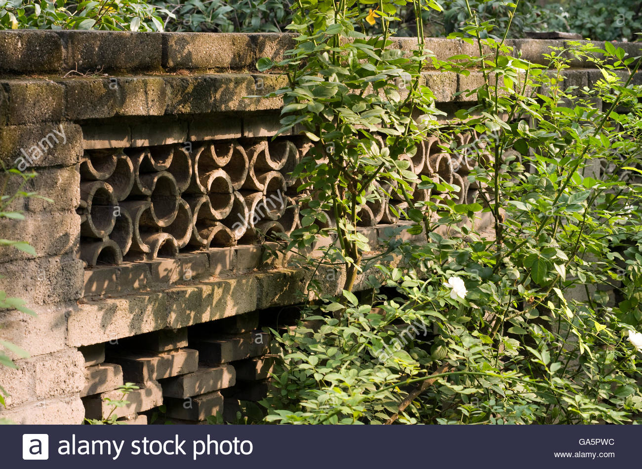 A Decorative Garden Wall In Jingshan Park In Beijing, China.   Stock Image