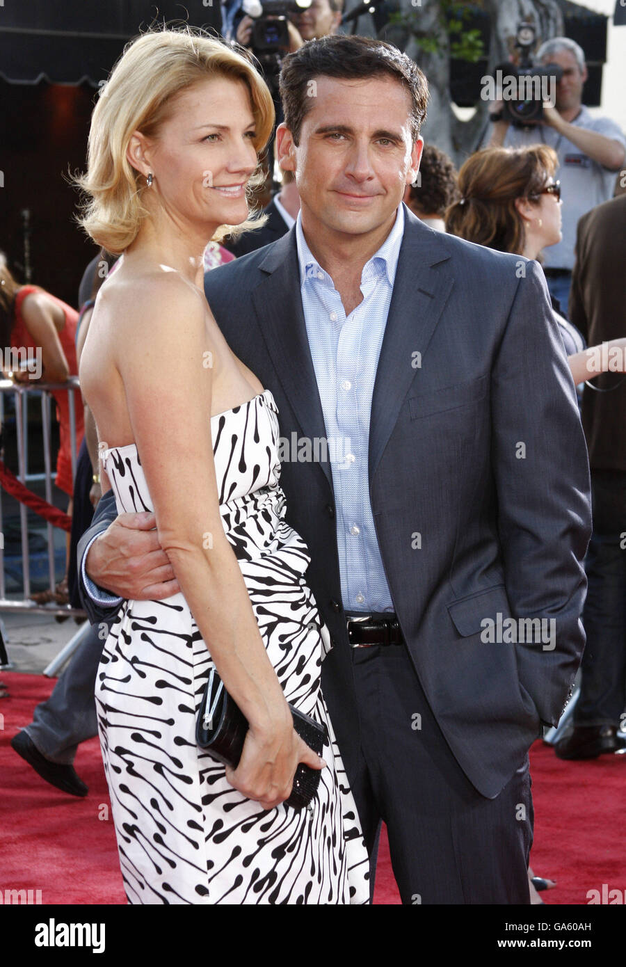 Steve Carell and wife Nancy Walls at the World Premiere of 'Get Smart' held at the Mann Village Theater - Stock Image