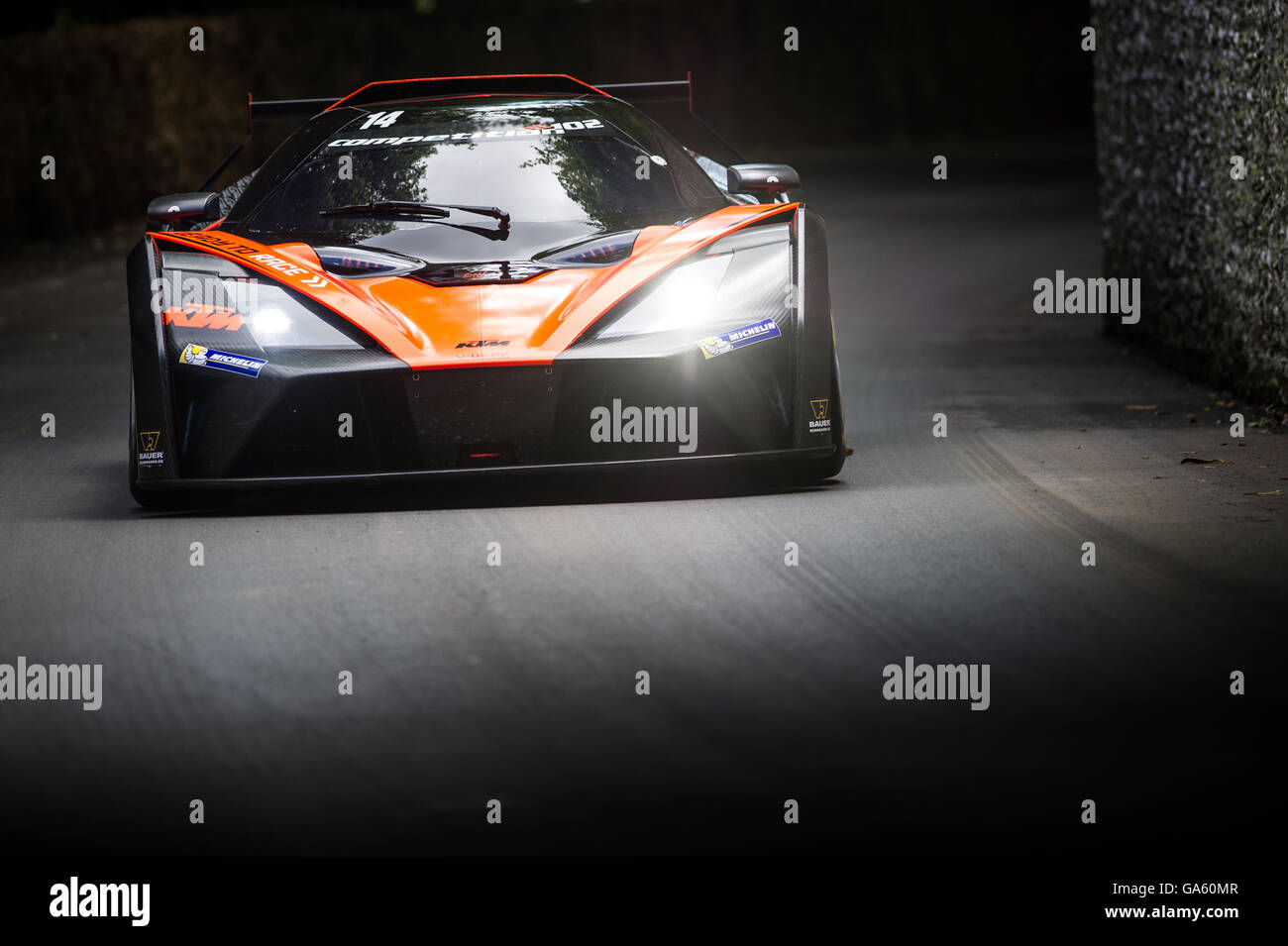 A KTM X-Bow GT4 drives past the flint wall during the Super Car Run at the Goodwood Festival of Speed 2016 - Stock Image