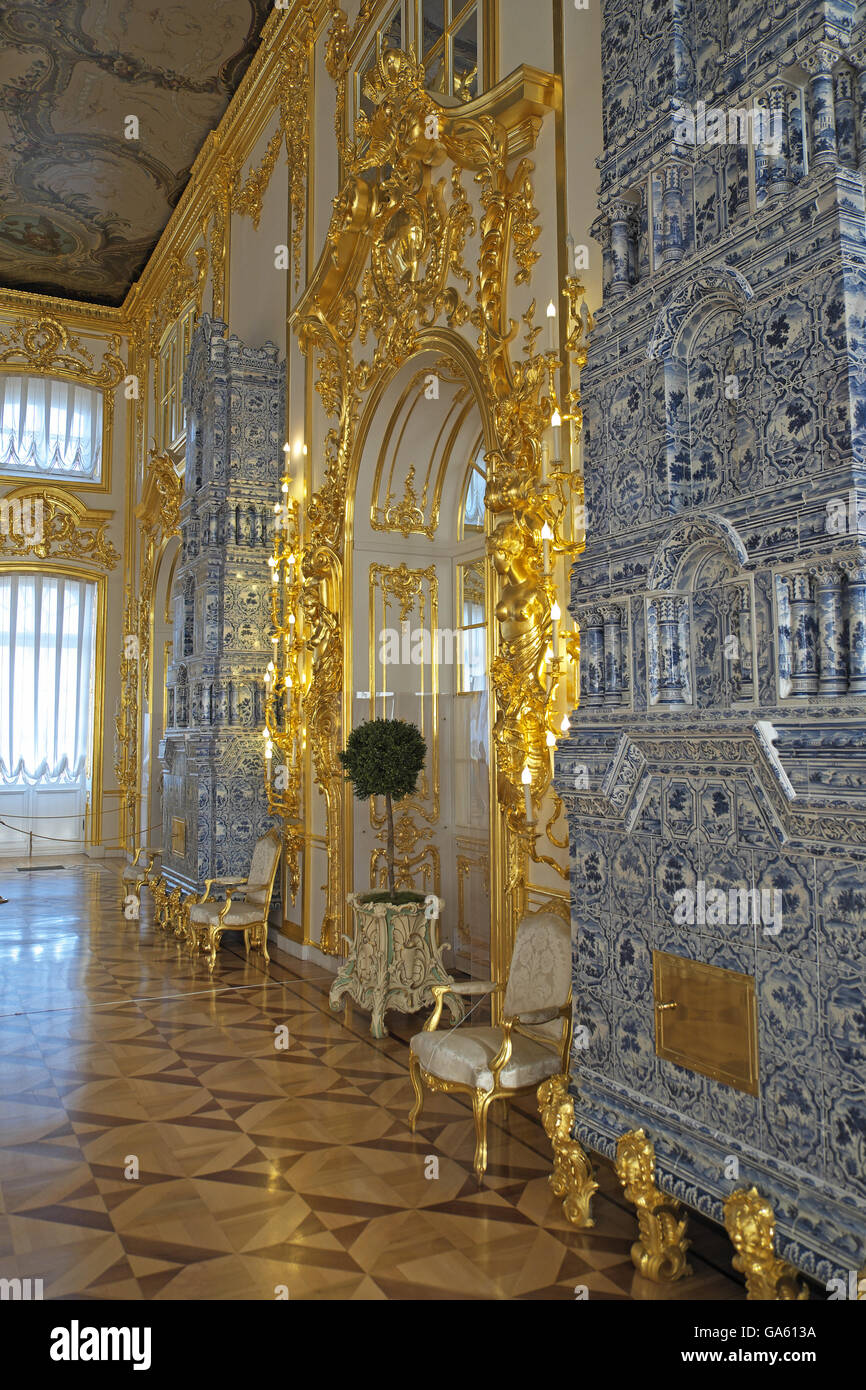 Tiled room heaters, Catherine or Summer Palace, Tsarskoe Selo, Pushkin, St Petersburg, Russia. - Stock Image