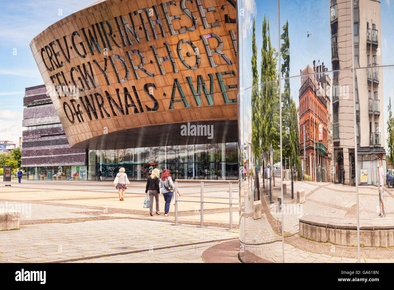 27 June 2016: Cardiff, Wales - Roald Dahl Plass with the Wales Millennium Centre and the Water Tower, Cardiff, Wales, - Stock Image