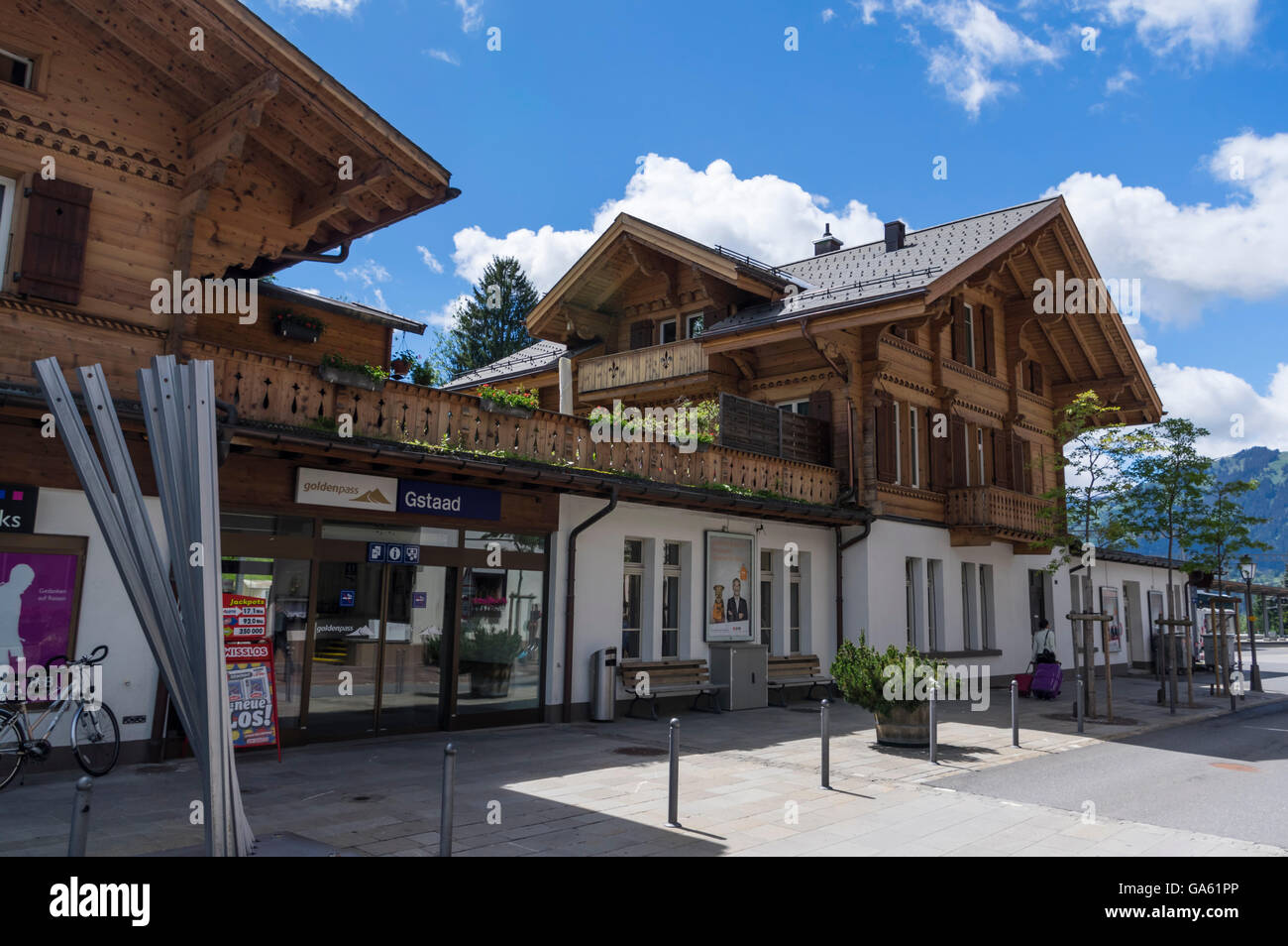 Train station of Gstaad, Switzerland, built in chalet style. Stock Photo
