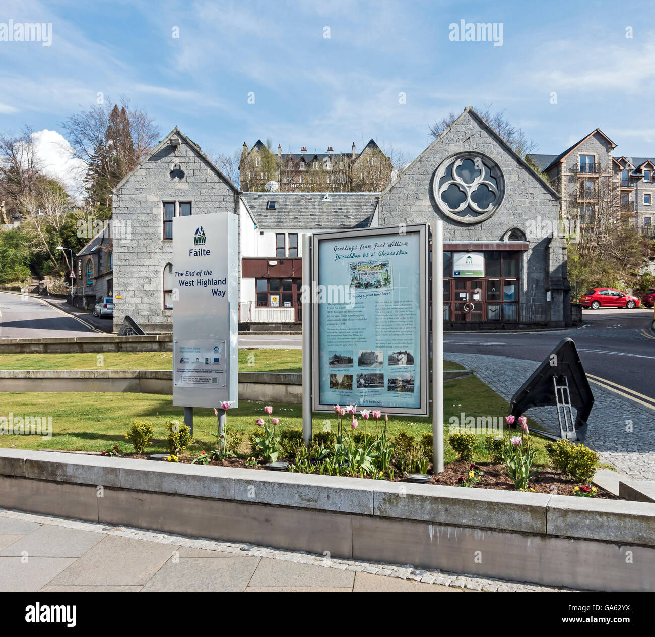 The end of the West Highland Way in High Street Fort William Highland Scotland - Stock Image