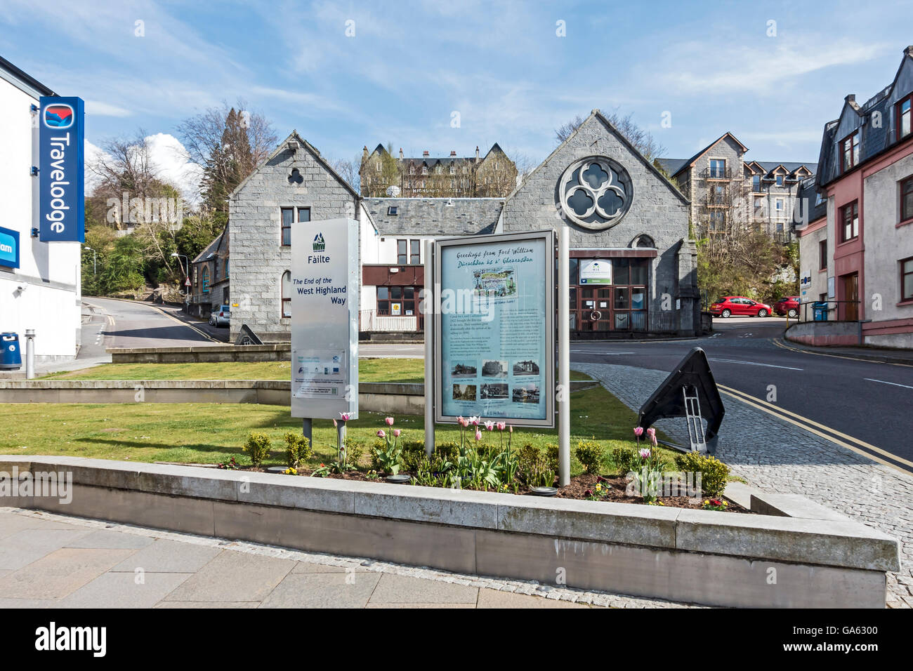 The end of the West Highland Way in High Street Fort William Highland Scotland Stock Photo
