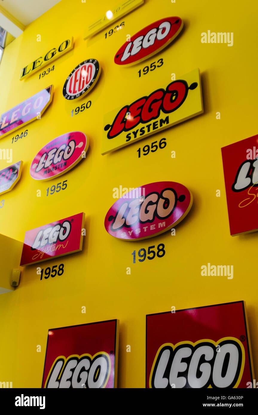 Historical Lego logos inside the Lego shop store in Copehagen, Denmark. Stock Photo