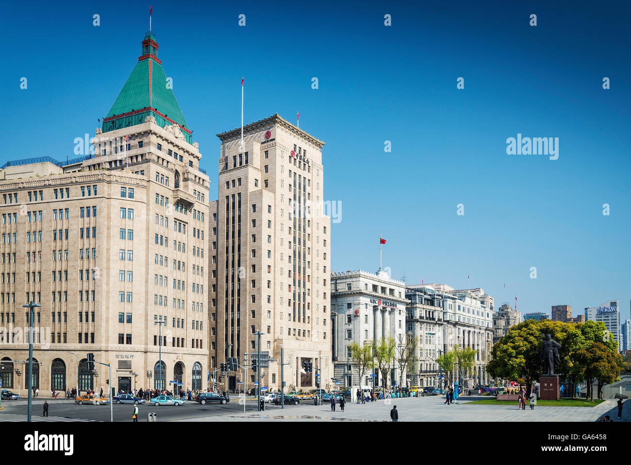 bund european colonial heritage riverside landmark area of central shanghai city china - Stock Image