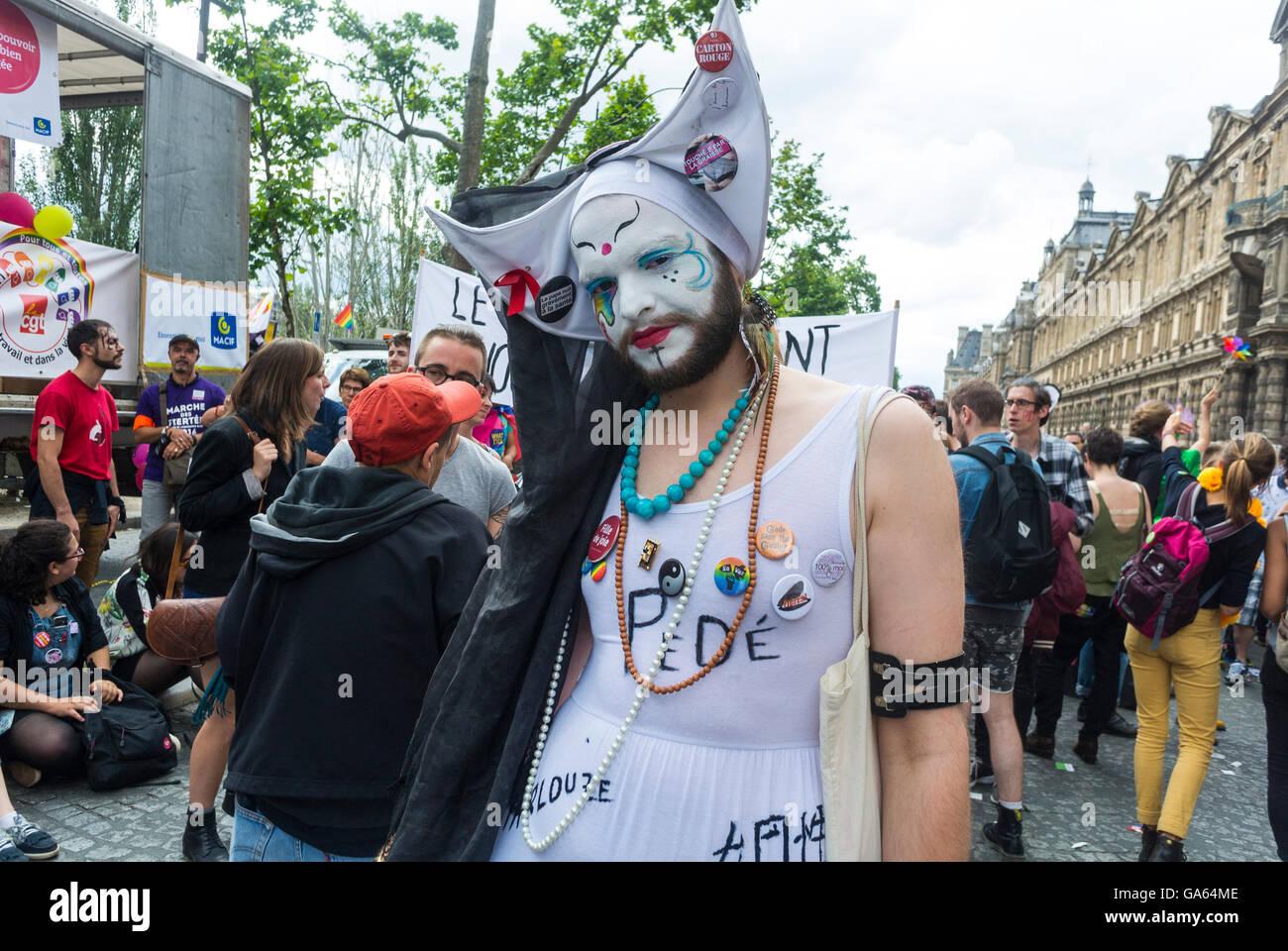 Gay Pride Halloween Costume.Paris France French Gay Pride Lgbt Activism Travestie Nun Man